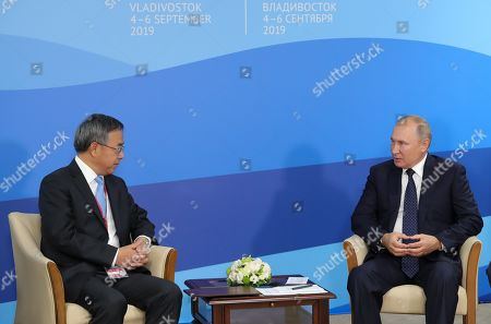 Russian President Vladimir Putin (R) and Chinese Vice Premier Hu Chunhua (L) meet on the sidelines of the Eastern Economic Forum 2019 in Vladivostok, Russia, 05 September 2019. The Eastern Economic Forum 2019 takes place in Vladivostok from 04 to 06 September.