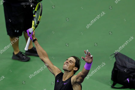 Rafael Nadal, of Spain, celebrates after defeating Diego Schwartzman, of Argentina, during the quarterfinals of the U.S. Open tennis tournament early, in New York