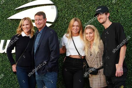 Janet Jones-Gretzky, Wayne Gretzky. Janet Jones-Gretzky, from left, Wayne Gretzky and family attend the quarterfinals of the U.S. Open tennis championships, in New York