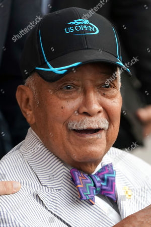 Former New York Mayor David Dinkins attends the quarterfinals of the U.S. Open tennis championships, in New York