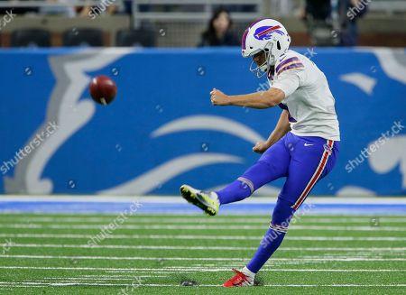 Buffalo Bills kicker Stephen Hauschka kicks off against the Detroit Lions during the second half of an NFL preseason football game in Detroit