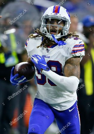 Buffalo Bills cornerback Ryan Lewis (38) carries the ball against the Detroit Lions during the second half of an NFL preseason football game in Detroit
