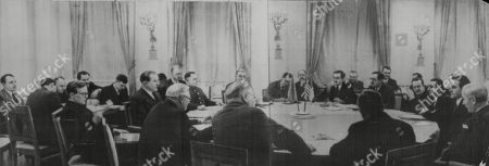 WWII: Allied War Councils.Moscow Three Power Conference. (NOVEMBER 1943 NO EXACT DATE). picture shows: Seated around the table are: Vyacheslav Molotov, Marshal Kilment Voroshilov, Lieutenant General Sir Henry Hastings Ismay, Sir Archibald Clark Kerr, Anthony Eden, William Strang, Major General John R. Deane, James C. Dunn, W. Averell Harriamn, Cordell Hull, Green Hackworth, Maxim Litvinov, Andrei Vyshinsky