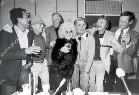 Barbara Windsor At The Bbc's Open House Studio Today Shortly After Her Husband Appeared In Court Accused Of Murder. Barbara Fought Back Her Tears And Said: 'l Just Decided Too Put A Brave Face On For Everybody.' Helping Her Were (left To Right): Kenny Lynch Dickie Henderson Bruce Forsyth Peter Murray Harry Fowler And Francis Matthews.