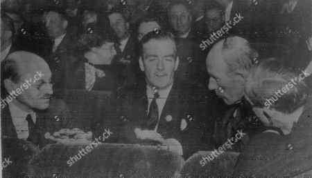 WWII: Peace: San Francisco Conference. Picture shows: British representatives at the United Nations Conference at San Francisco. L-R: Deputy Prime Minister Clement Attlee, Foreign Secretary and Chairman of the British Delegation, Anthony Eden, Envoy to the U.S. Lord Halifax and Viscount Cranborne, Secretary of State for the Dominions