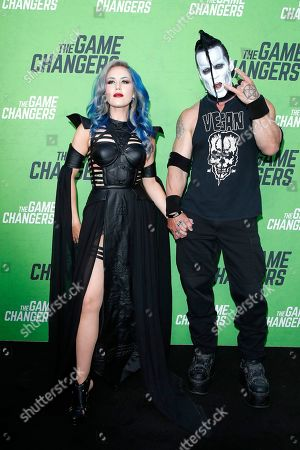 Alissa White-Gluz and Doyle Wolfgang von Frankenstein arrive for the LA Premiere of 'The Game Changers' at ArcLight Hollywood in Los Angeles, California, USA, 04 September 2019. The movie opens in US theaters on 16 September 2019.