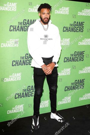 Stock Picture of JaVale McGee arrives for the LA Premiere of 'The Game Changers' at ArcLight Hollywood in Los Angeles, California, USA, 04 September 2019. The movie opens in US theaters on 16 September 2019.