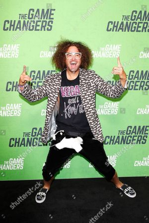 Redfoo arrives for the LA Premiere of 'The Game Changers' at ArcLight Hollywood in Los Angeles, California, USA, 04 September 2019. The movie opens in US theaters on 16 September 2019.