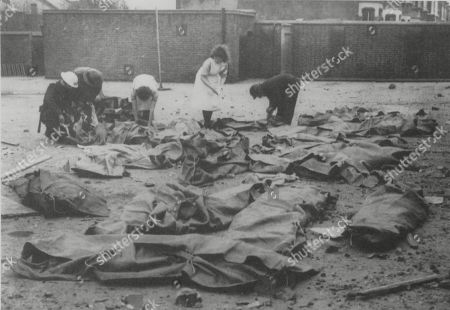 WWII: Germany: Air Raids. picture shows: 38 children were killed when a German fighter bomber attacked Sandhurst Road School in Catford, Lewisham, early in 1943. This photograph was unsurprisingly marked by the censor: 'Not to be used in Great Britain'.Extract from book London At War, published by Sinclair Stevenson. Copyright Philip Ziegler