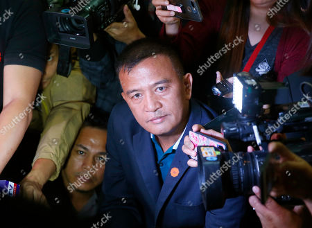 Nicanor Faeldon, the Director General of the Bureau of Corrections who was fired by President Rodrigo Duterte the night before, is hounded by the media as he arrives at the Philippine Senate for the continuing probe in the failed release of former Mayor Antonio Sanchez who was convicted in the 1993 rape and murders of two students in suburban Pasay city south of Manila, Philippines. President Duterte has fired Faeldon Wednesday amid a public outcry over the release of hundreds of prisoners, including convicted rapists and drug traffickers, through a law rewarding good behavior in detention