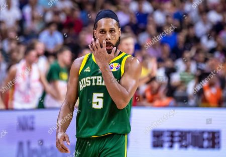 Patty Mills of Australia reacts after scoring during the FIBA Basketball World Cup 2019 group H match between Lithuania and Australia in Dongguan, China, 05 September 2019.