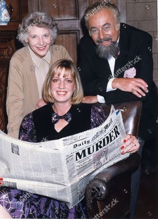 Editorial image of Susan Beecham 32 A Legal Secretary From Sydenham Is Pictured At The St Martins Theatre Where The Mousetrap Play Is Staged. Susan Has Won The Daily Mail Mousetrap Competition She Is Seen Here With Kathleen Byron And Charles Stapley.