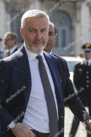 Italian Defence Minister Lorenzo Guerini leaves Quirinal Palace following the new government's swearing-in ceremony, in Rome, Italy, 05 September 2019. Italian Prime Minister Giuseppe Conte's new government is a coalition between the anti-establishment 5-Star Movement (M5S) and the center-left Democratic Party (PD) that will have 21 ministers, 10 from the M5S, nine from the PD and one from the small leftwing Free and Equal (LeU) party, media reported.