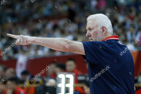 USA coach Gregg Popovich reacts during the FIBA Basketball World Cup 2019 group E first ?round? match between USA and Japan in Shanghai, China, 05 September 2019.