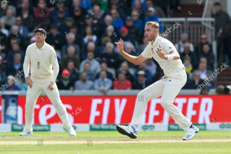 Stock Image of Stuart Broad of England reacts after bowling a delivery to  Matthew Wade of Australia during the International Test Match 2019, fourth test, day two match between England and Australia at Old Trafford, Manchester