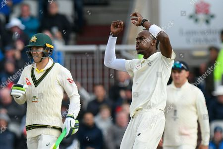 Stock Picture of Jofra Archer of England reacts after bowling a delivery to Steve Smith of Australia which drew an edge during the International Test Match 2019, fourth test, day two match between England and Australia at Old Trafford, Manchester