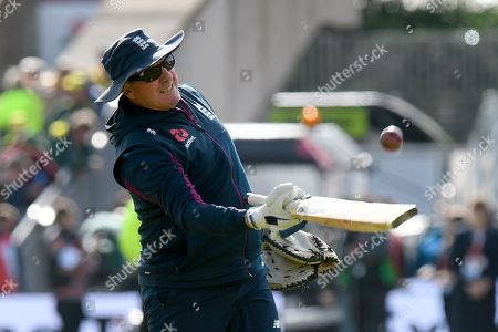 England head coach Trevor Bayliss during the warm up ahead of the second days play at the International Test Match 2019, fourth test, day two match between England and Australia at Old Trafford, Manchester