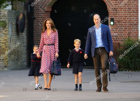 Princess Charlotte with her father Prince William, and mother, Catherine Duchess of Cambridge and Prince George, arriving for her first day of school at Thomas's Battersea in London.
