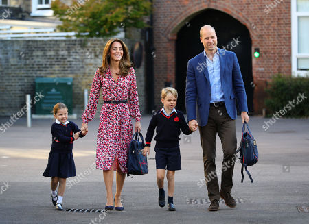 Princess Charlotte arrives for her first day of school, with her brother Prince George and her parents the Duke and Catherine Duchess of Cambridge, at Thomas's Battersea in London.