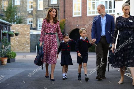 Princess Charlotte arrives for her first day of school at Thomas's Battersea in London, accompanied by her brother Prince George and her parents the Duke and Catherine Duchess of Cambridge.