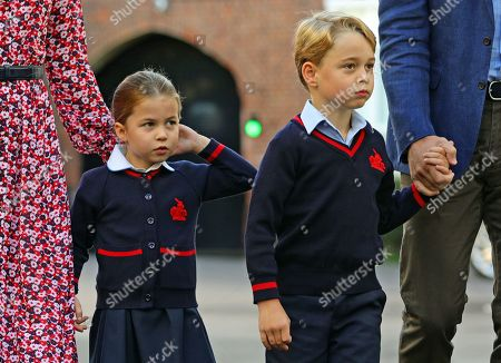 Princess Charlotte arrives for her first day of school at Thomas's Battersea in London, accompanied by her brother Prince George