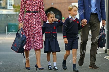 Princess Charlotte arrives for her first day of school at Thomas's Battersea in London, with her brother Prince George
