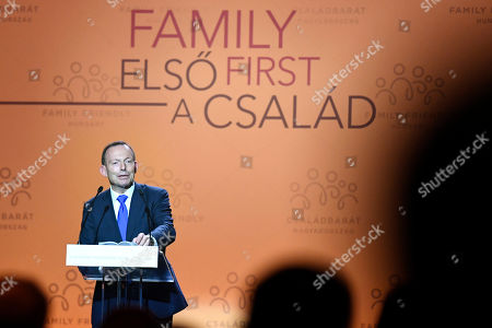 Former Prime Minister of Australia Tony Abbott delivers a speech during the 3rd Budapest Demographic Summit in Varkert Bazar conference center in Budapest, Hungary, 05 September 2019. The Hungarian capital city, which hosts the international summit for the third time after 2015 and 2017, welcomes politicians, scientists, church dignitaries and public personalities to give presentations and exchange their experiences on current population trends.