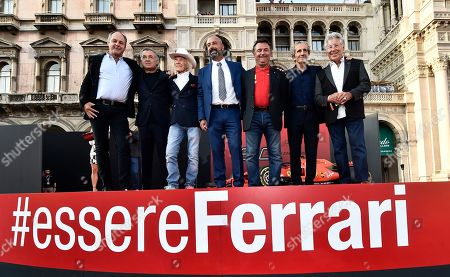 Formers Formula One drivers Gerhard Berger, Jean Alesi, Arturo Merzario, Ivan Capelli, Rene Arnoux Alain Prost, Mario Andretti, during the celebration of the 90th anniversary of Ferrari Foundation in Cathedral square in Milan