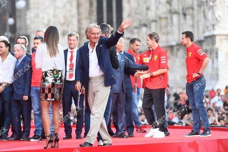 Former Ferrari chairman Luca Cordero Di Montezemolo during the celebration of the 90th anniversary of Ferrari Foundation in Cathedral square in Milan