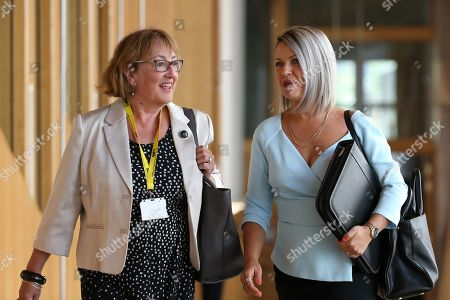 Stock Picture of Scottish Parliament First Minister's Questions -  Annabelle Ewing and Jenny Gilruth make their way to the Debating Chamber.