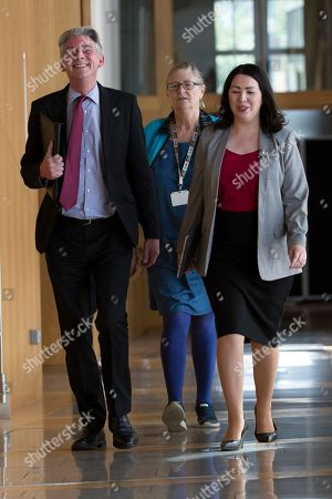 Stock Photo of Scottish Parliament First Minister's Questions -  Richard Leonard, Leader of the Scottish Labour Party, Claudia Beamish, and Monica Lennon make their way to the Debating Chamber.