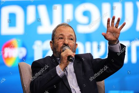 Former Israeli Prime Minister Ehud Barak and member of the 'Democratic Camp' party speaks during the 'Influencers Conference' of the Israeli leading News Channel 12 in Tel Aviv, Israel, 05 September 2019. Israeli legislative election will be held on 17 September.