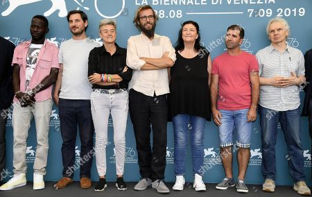 Mass Fall, Marco Dalla Libera, Mariam Erimia,Andrea Segre, Violetta Bovo, an unknown protagonist and Gianfranco Bettin pose at a photocall for 'Il Pianeta in Mare' during the 76th annual Venice International Film Festival, in Venice, Italy, 05 September 2019. The movie is presented out of competition at the festival running from 28 August to 07 September.