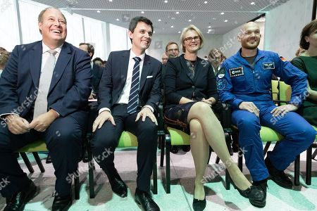 Stock Photo of (L-R) Head of the Chancellery and Federal Minister for Special Affairs Helge Braun, Director of the Futurium Stefan Brandt, Minister of Education and Research Anja Karliczek and Astronaut Alexander Gerst attend the opening ceremony of the Futurium museum in Berlin, Germany, 05 September 2019. The Futurium is a project initiative of scientific institutions and networks of several business enterprises and foundations as well as the German Federal Government. At the same time, it is the name of a museum in Berlin, which serves as a place for presentation and dialogue on science, research and development.