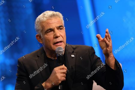 Leader at  the Israeli Blue and White Party  and former finance minister Yair Lapid speaks during the 'Influencers Conference' of the Israeli leading News Channel 12 in Tel Aviv, Israel, 05 September 2019. Israeli legislative election will be held on 17 September.
