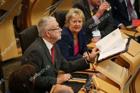 Avoiding a No-deal Exit from the EU debate at The Scottish Parliament - Michael Russell, Cabinet Secretary for Government Business and Constitutional Relations or 'Brexit Minister', and Roseanna Cunningham, Cabinet Secretary for Environment, Climate Change and Land Reform