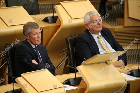 Avoiding a No-deal Exit from the EU debate at The Scottish Parliament - Willie Rennie, Leader of the Scottish Liberal Democrats, and Mike Rumbles