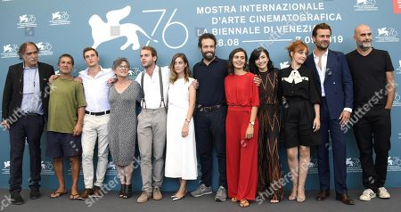 A guest, Portuguese actor Miguel Borges, guest, guest, Portuguese actor Joao Pedro Mamede, Portuguese actress Victoria Guerra, Portuguese actor Joao Vicente, Portuguese actress Beatriz Bras, Portuguese actress Ana Vilela da Costa, Portuguese actress Sandra Faleiro, Portuguese actor Albano Jeronimo and Portuguese filmmaker Tiago Guedes pose at a photocall for 'Herdade' during the 76th annual Venice International Film Festival, in Venice, Italy, 05 September 2019. The movie is presented in the official competition 'Venezia 76' at the festival running from 28 August to 07 September.