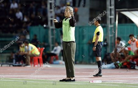 Cambodian national soccer team's head coach Keisuke Honda during the FIFA World Cup Qatar 2022 qualifying soccer match between Cambodia and Hong Kong in Phnom Penh, Cambodia, 05 September 2019.