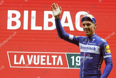Belgian rider Philippe Gilbert of the Deceuninck-Quick Step team celebrates on the podium after winning the 12th stage of the Vuelta a Espana cycling race over 171.4km from Circuito de Navarra to Bilbao, northern Spain, 05 September 2019.