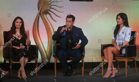 Madhuri Dixit, Salman Khan, Katrina Kaif. Bollywood actors, from left, Madhuri Dixit, Salman Khan and Katrina Kaif attend a press conference to announce the dates and venue for International Indian Film Academy (IFFA) awards 2019 in Mumbai, India, . The 20th IFFA awards ceremony will be held in Mumbai on Sept. 18