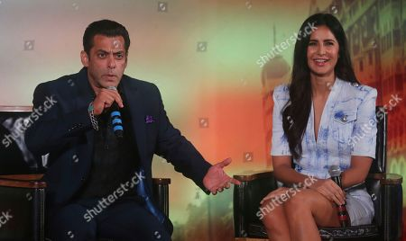 Salman Khan, Katrina Kaif. Bollywood actor Salman Khan, left, speaks with Katrina Kaif, right, by his side during a press conference to announce the dates and venue for International Indian Film Academy (IFFA) awards 2019 in Mumbai, India, . The 20th IFFA awards ceremony will be held in Mumbai on Sept. 18