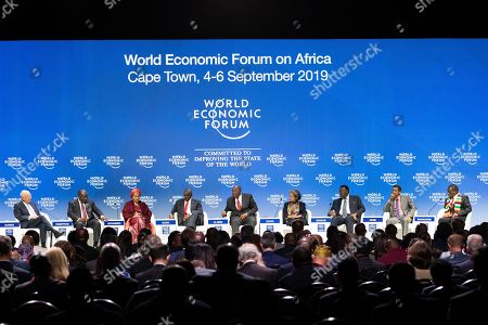 (L-R) Klaus Schwab, Founder and Executive Chairman, World Economic Forum, Cyril Ramaphosa, President of South Africa, Amina Mohammed, Deputy Secretary-General, United Nations, Mokgweetsi Masisi, President of Botswana, Mandulo Ambrose Dlamini, Prime Minister of Eswatini, Sahlework Zewde, President of Ethiopia, Hage Geingob, President of Namibia, Danny Faure, President of Seychelles and Emmerson Mnangagwa, President of Zimbabwe attend a plenary session of the World Economic Forum on Africa (WEF) titled Africa: Rising Continent in a Fractured World at the Cape Town International Convention Centre, in Cape Town, South Africa, 05 September 2019. The World Economic Forum on Africa runs from 04 to 06 September 2019.