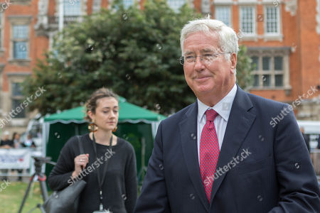 Stock Photo of Sir Michael Fallon, Conservative MP, on College Green at Westminister