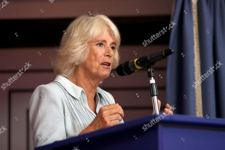 Camilla Duchess of Cornwall speaks after watching dance performances organized by the British Dance Council in association with The Royal Osteoporosis Society at Carisbrooke Hall and President of The Royal Osteoporosis Society