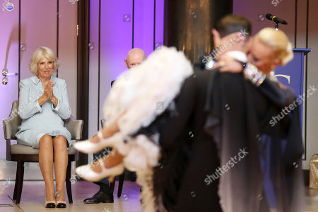Camilla Duchess of Cornwall watches dance performances organized by the British Dance Council in association with The Royal Osteoporosis Society at Carisbrooke Hall and President of The Royal Osteoporosis Society