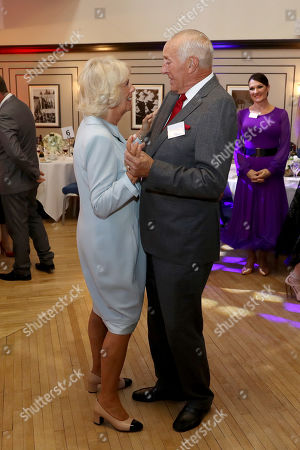 Camilla Duchess of Cornwall dances with Len Goodman during an event organized by the British Dance Council in association with The Royal Osteoporosis Society at Carisbrooke Hall and President of The Royal Osteoporosis Society