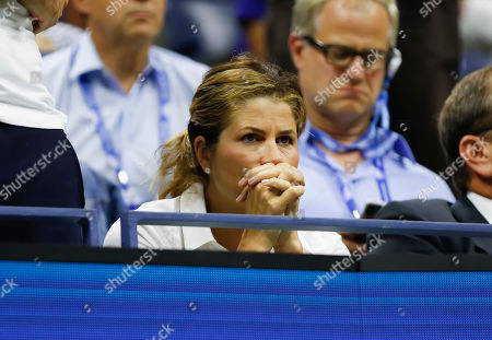 Mirka Federer in the players box on Arthur Ashe Stadium to watch Roger Feder (SUI) in his quarter final match against Grigor Dimitrov (BUL)