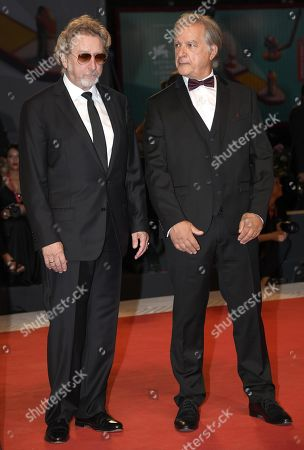 Robert Guediguian (L) and French actor Gerard Meylan arrive for the premiere of 'Gloria Mundi' during the 76th annual Venice International Film Festival, in Venice, Italy, 05 September 2019. The movie is presented in the official competition 'Venezia 76' at the festival running from 28 August to 07 September.
