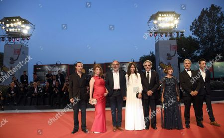Stock Image of Robinson Stevenin, Lola Naymark, Jean-Pierre Darroussin, Anais Demoustier, French director Robert Guediguian, and actors Ariane Ascaride, Gerard Meylan and Gregoire Leprince-Ringuet arrive for the premiere of 'Gloria Mundi' during the 76th annual Venice International Film Festival, in Venice, Italy, 05 September 2019. The movie is presented in the official competition 'Venezia 76' at the festival running from 28 August to 07 September.